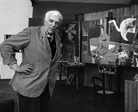 Georges Braque at his studio (c. 1950)