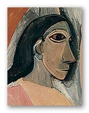 One of the figures from Picasso's masterpiece.  Believed to be composed by him from his studies of African masks