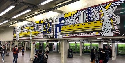 Lichtenstein's <i>Times Square Mural</i> (2002) is located inside the 42nd Street Subway station in New York City