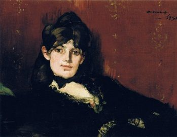 <i>Berthe Morisot Reclining</i> (1867) is one of a dozen painting of the beautiful young painter that Manet made over their very passionate relationship.