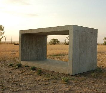 Donald Judd conceived different types of regularly-shaped sculptures. Photo of a later work At the Chinati Foundation - Marfa, Texas