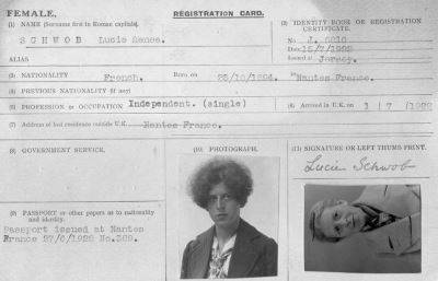 Claude Cahun's UK Registration card from her arrival in Jersey, showing her birth name, Lucie Schwob