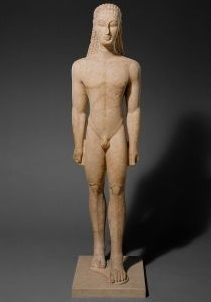 <i>New York Kouros</i> (c. 598-580 BCE), so dubbed for its being housed in the Metropolitan Museum of Art, follows the rules of proportion for the human figure, as well as the frontal facing pose, established by the Egyptians, while showing the Greek tendency toward more realistic anatomical modeling and the suggestion of movement.
