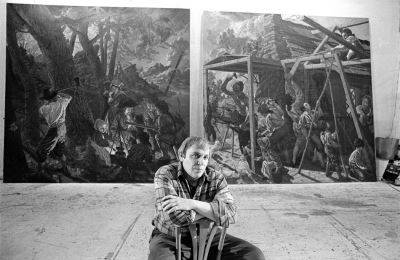 Jack Beal in 1977 with part of his mural