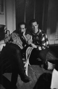Frank, on the left, with Jack Kerouac on the set of the film <i>Pull My Daisy</i> (1959)