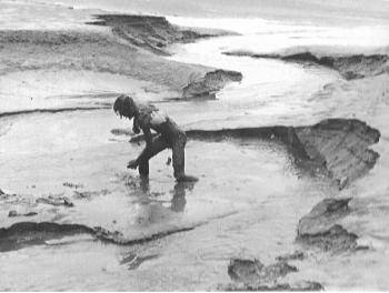 Goldsworthy working outside while still a college student, Morecambe Bay (1976)