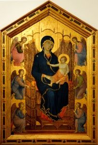 Duccio's <i>Rucellai Madonna</i> (1285-1286) employs a traditional Byzantine subject as well as an emphasis on gold, exemplifying the soft modeling of the human face and figure that created a sense of elegance and subtle emotion.