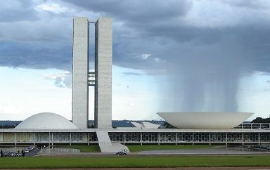 View of the Brazilian Congress Complex in Brasilia, Brazil designed by Oscar Niemeyer