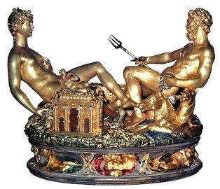"Benvenuto Cellini's <i>Salt Cellar</i> (1543) has been called a ""masterpiece of Mannerist sculpture"" but also exemplified the lavish decorative style of the French court."