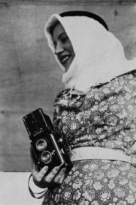 <i>Lee Miller Holding her Rolleiflex Camera</i> (1935) Miller pursued photography while living in Egypt