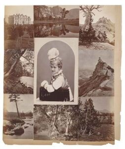 Page from a photo album discovered by Melford F. Brandenburg in 1950, containing many copies of Muybridge's work. The scrapbook is thought to have belonged to Flora. This page shows Muybridge's shot of the University of California at Berkeley, several of his Yosemite pictures, and a portrait of a woman, perhaps Flora herself.