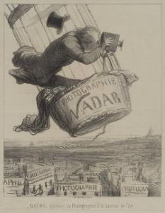 Honoré Daumier, <i>Nadar Elevating Photography to an Art</i>, c. 1862. In this lithograph Daumier depicts Nadar posed precariously in the gondola of his balloon with large format camera and hat flying.