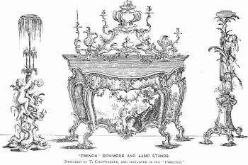 Thomas Chippendale's <i>Design for Commode and lamp stands</i> (1753-54) pioneered the British use of Rococo in structural design.