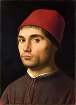 "Antonello da Messina's <i>Portrait of a Man</i> (c. 1475-1476), believed to be a self-portrait, exemplified why art historian John Pope-Hennessy wrote that the artist was ""the first Italian painter for whom the individual portrait was an art form in its own right."""